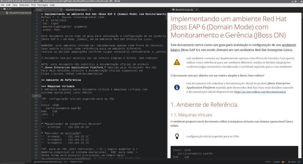 Atom editor com plugin do AsciiDoctor instalado.