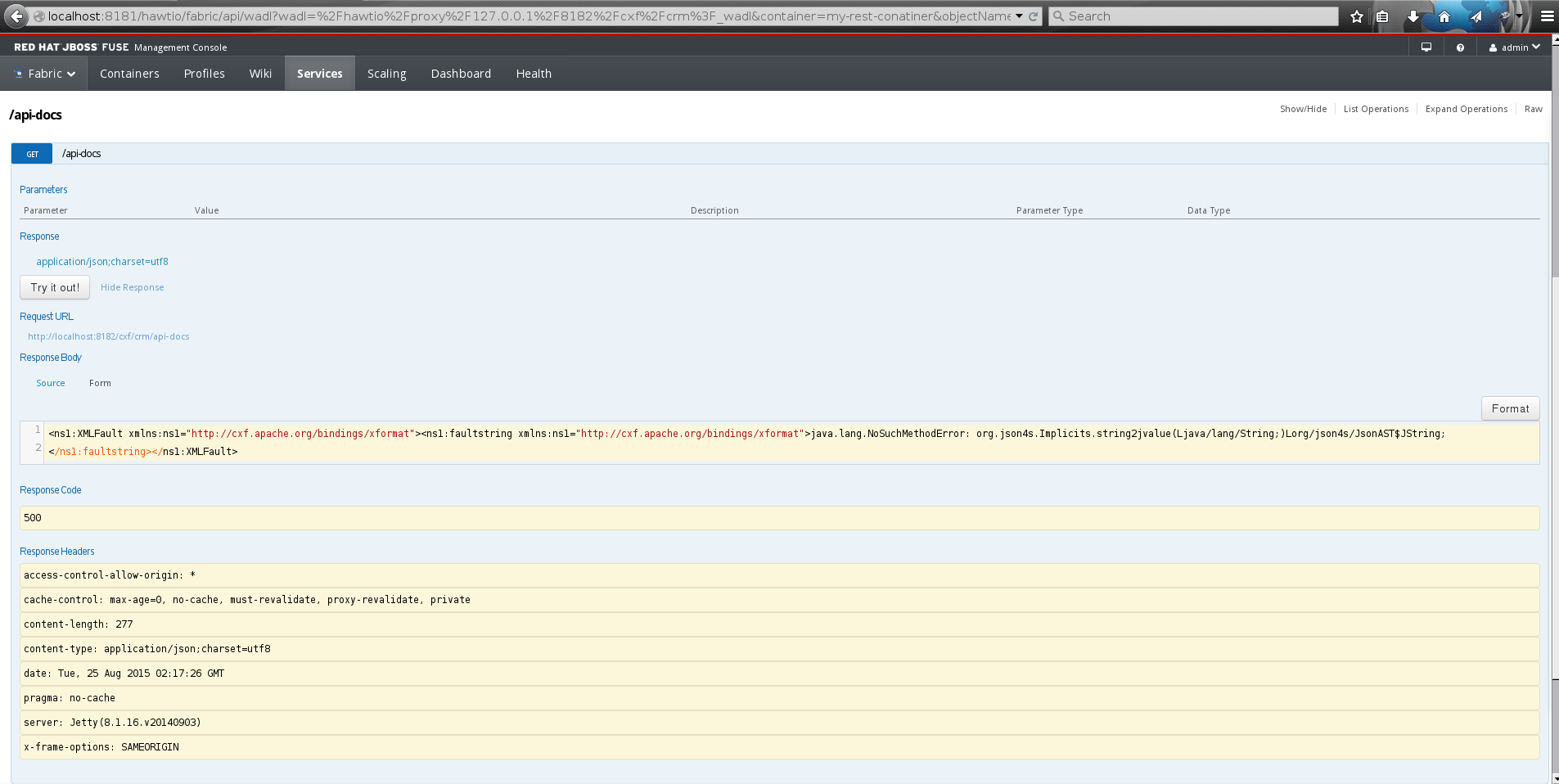 Entesb 3302 nosuchmethoderror when accessing swagger api docs for see the screenshot image malvernweather Gallery